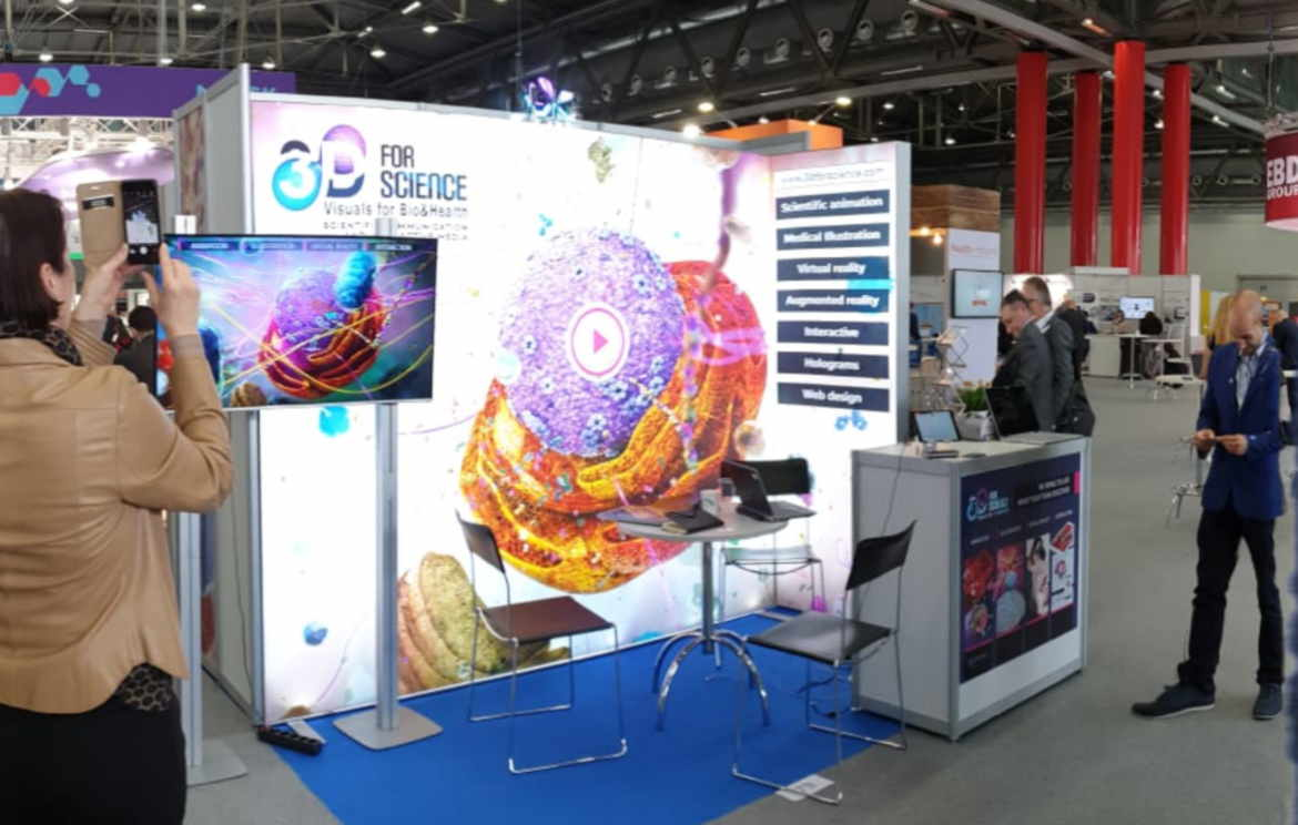 Backlit Exhibition Stand Solution by Nomadic Display for 3D for Science client