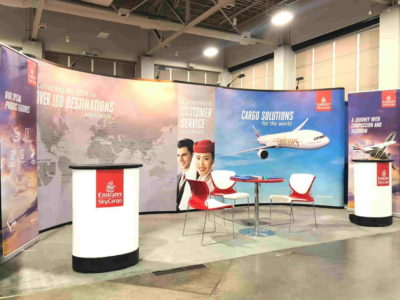 View of modular portable exhibition stand for Emirates Airlines
