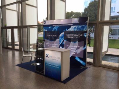 Backlit Exhibition Stand and Counter for Lifelength by Nomadic Display