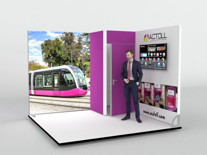 3m x 3m Corner Exhibition Stand with corner Storage Area