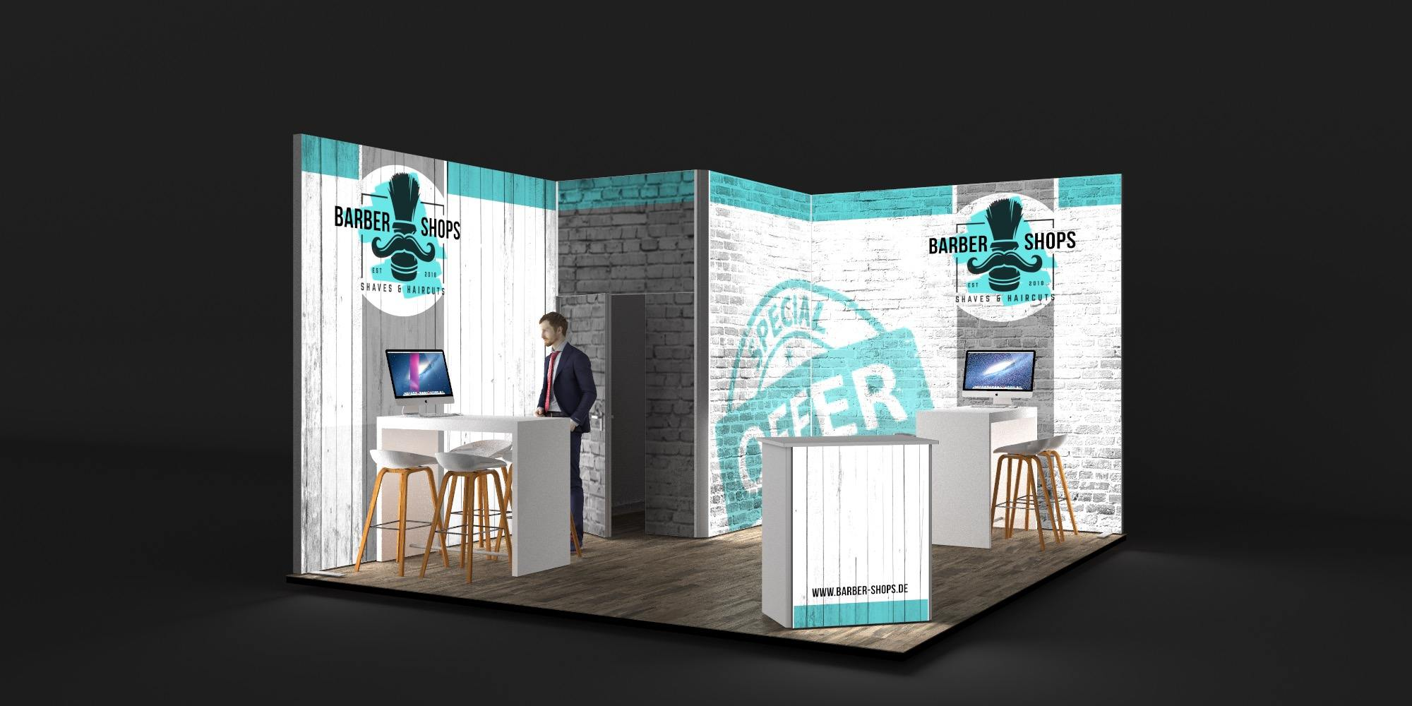 4.5x5m Exhibition Stand with 3m High Walls View 2