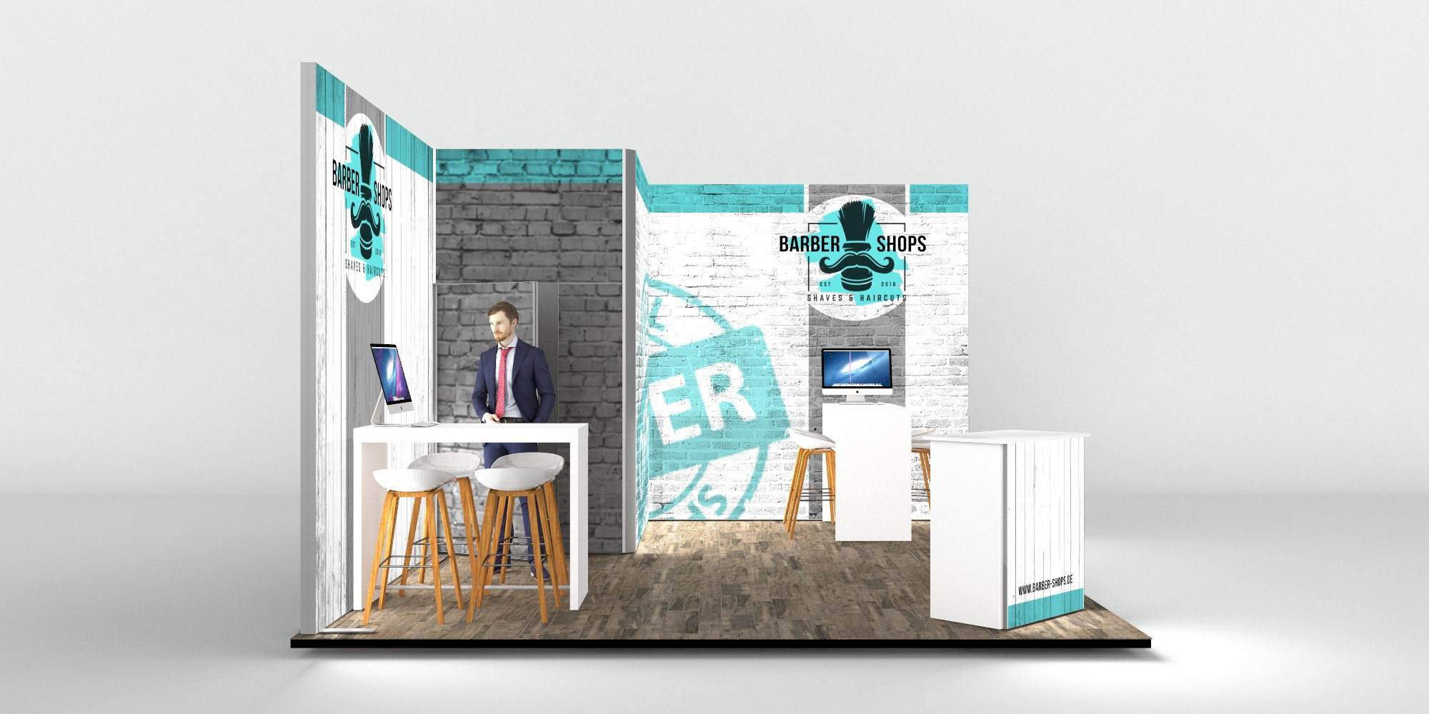 4.5x5m Exhibition Stand with 3m High Walls View 3