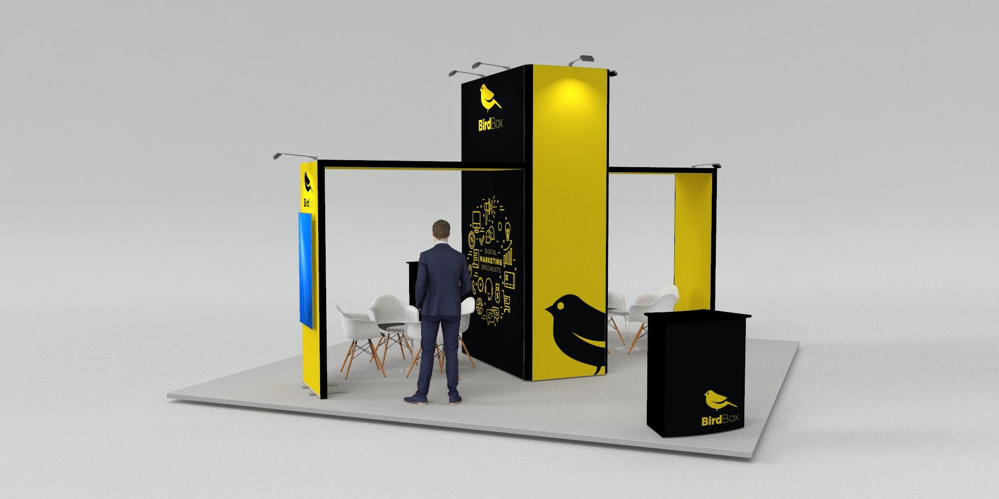 6x6m Island Exhibition Stand with 2 Arches View 1