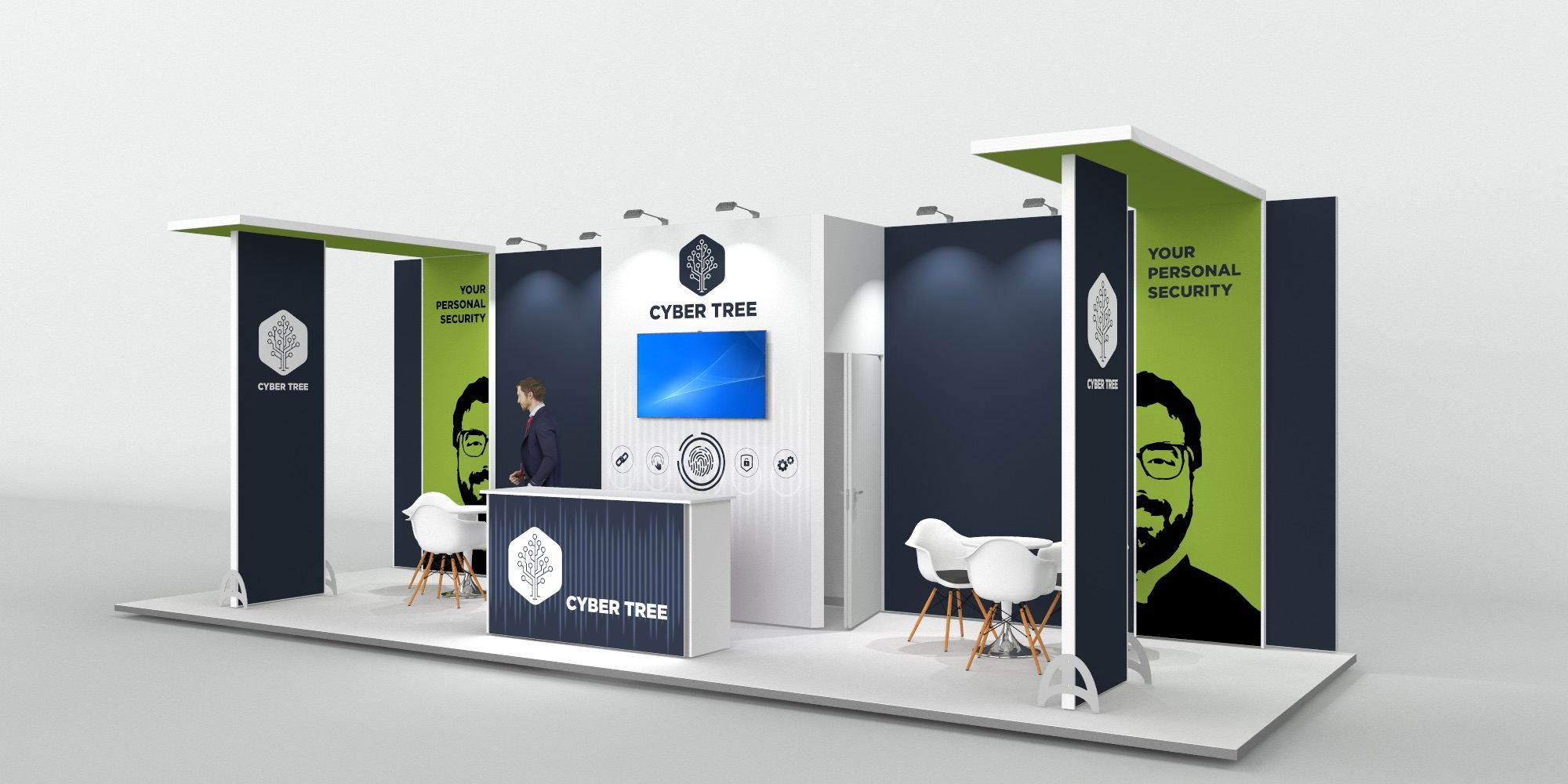 9x3m Exhibition Stand with 2 Feature Areas