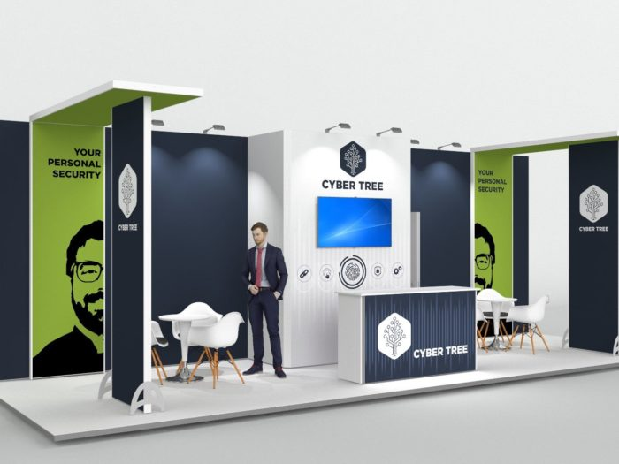 9x3m Exhibition Stand with 2 Feature Areas View 2