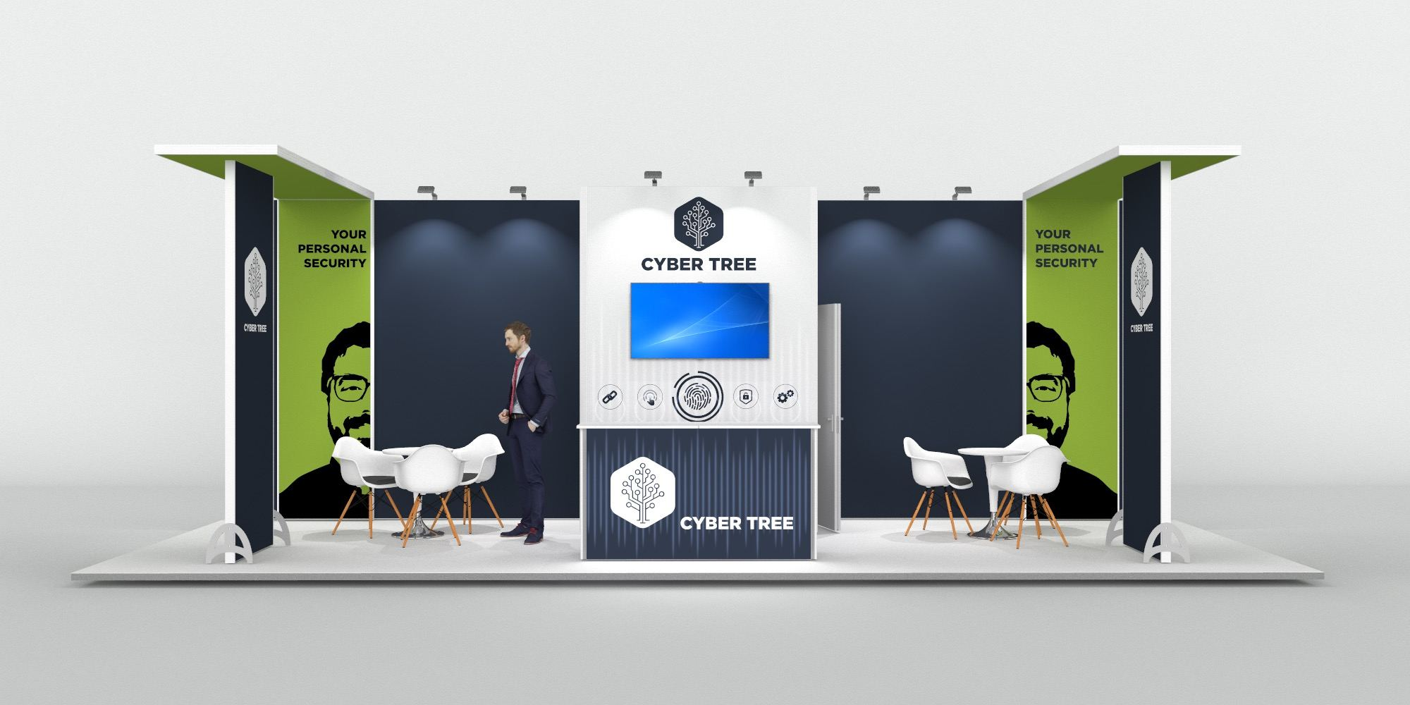 9x3m Exhibition Stand with 2 Feature Areas View 3