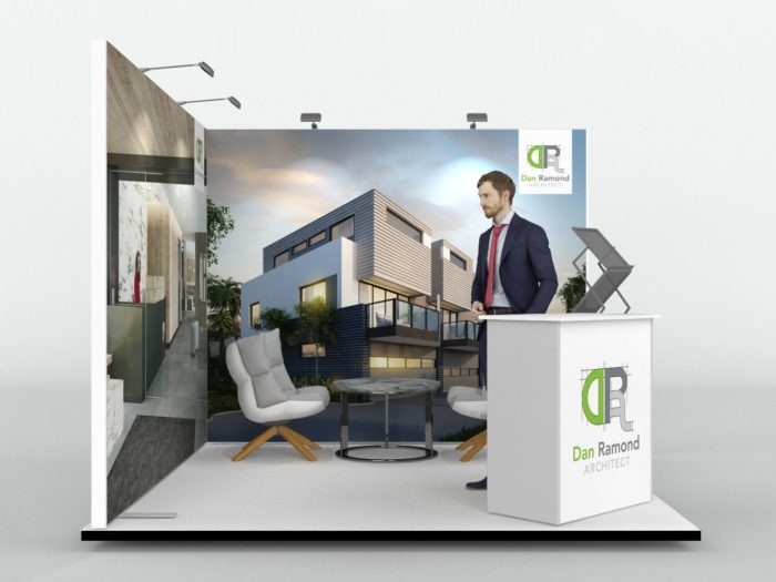 3m x 3m Corner Exhibition Stand 3 x 3 m Eck-Messestand View 2