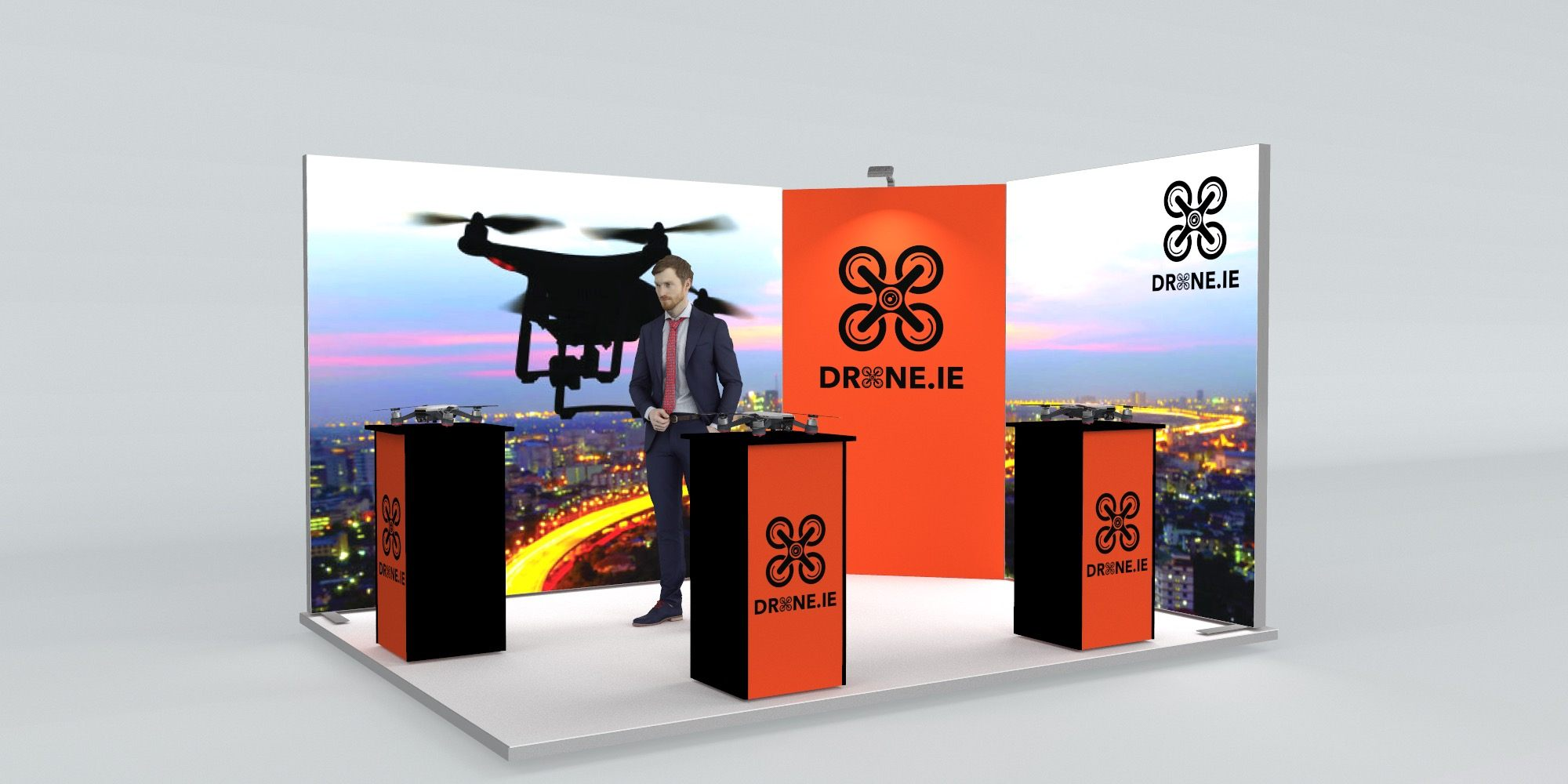 4x3m Exhibition Stand With Backlit Walls