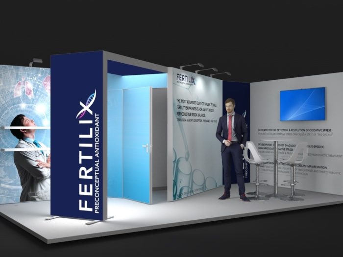 6x3m 2 Sided Exhibition Stand with Feature Arch View 2