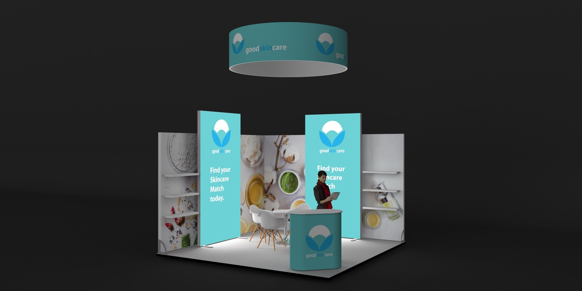 4x4m Exhibition Stand with Overhead Arch View 2