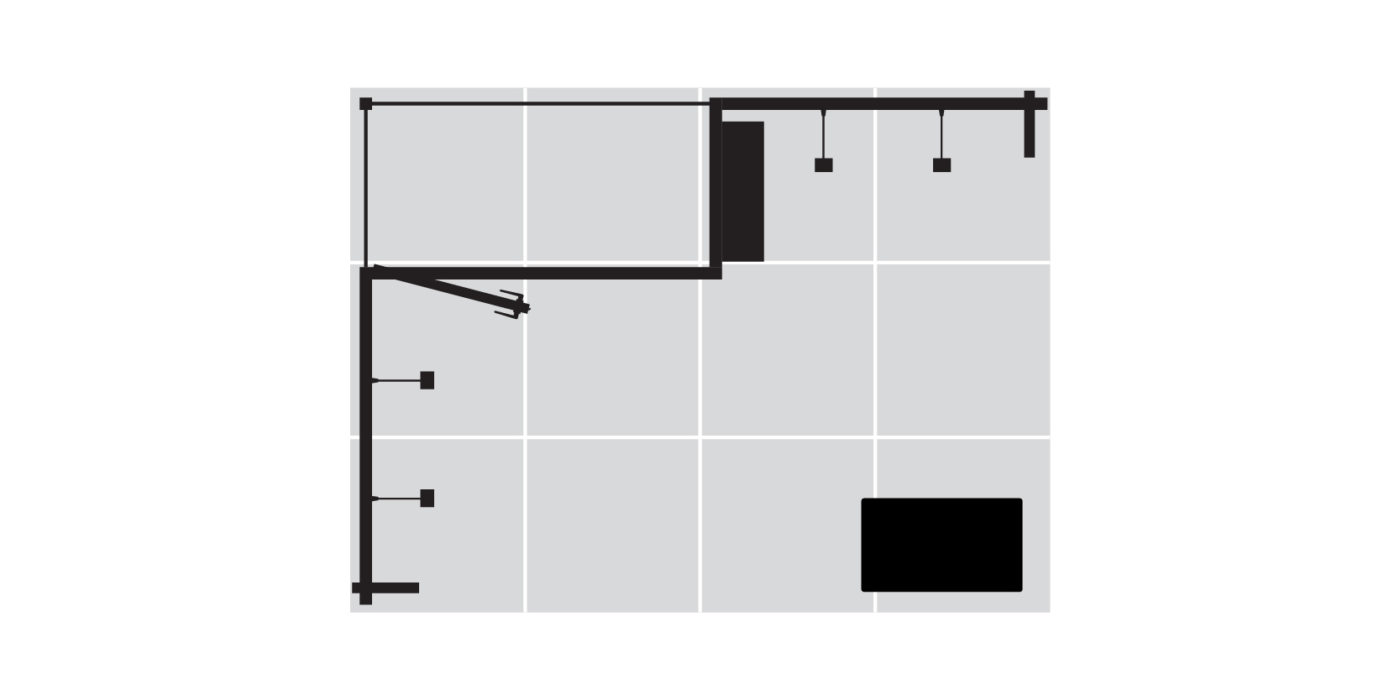 4x3m 2 Sided Exhibition Stand With Storage Area Floor Plan