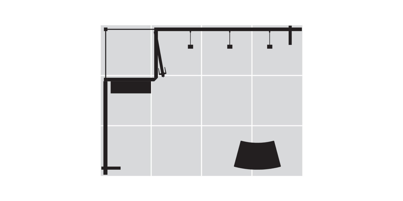 4x3m Fabric Exhibition Stand With Storage Area Floor Plan