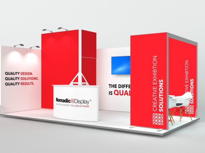 6x3m 2 Sided Exhibition Stand with Arch and Storage Area