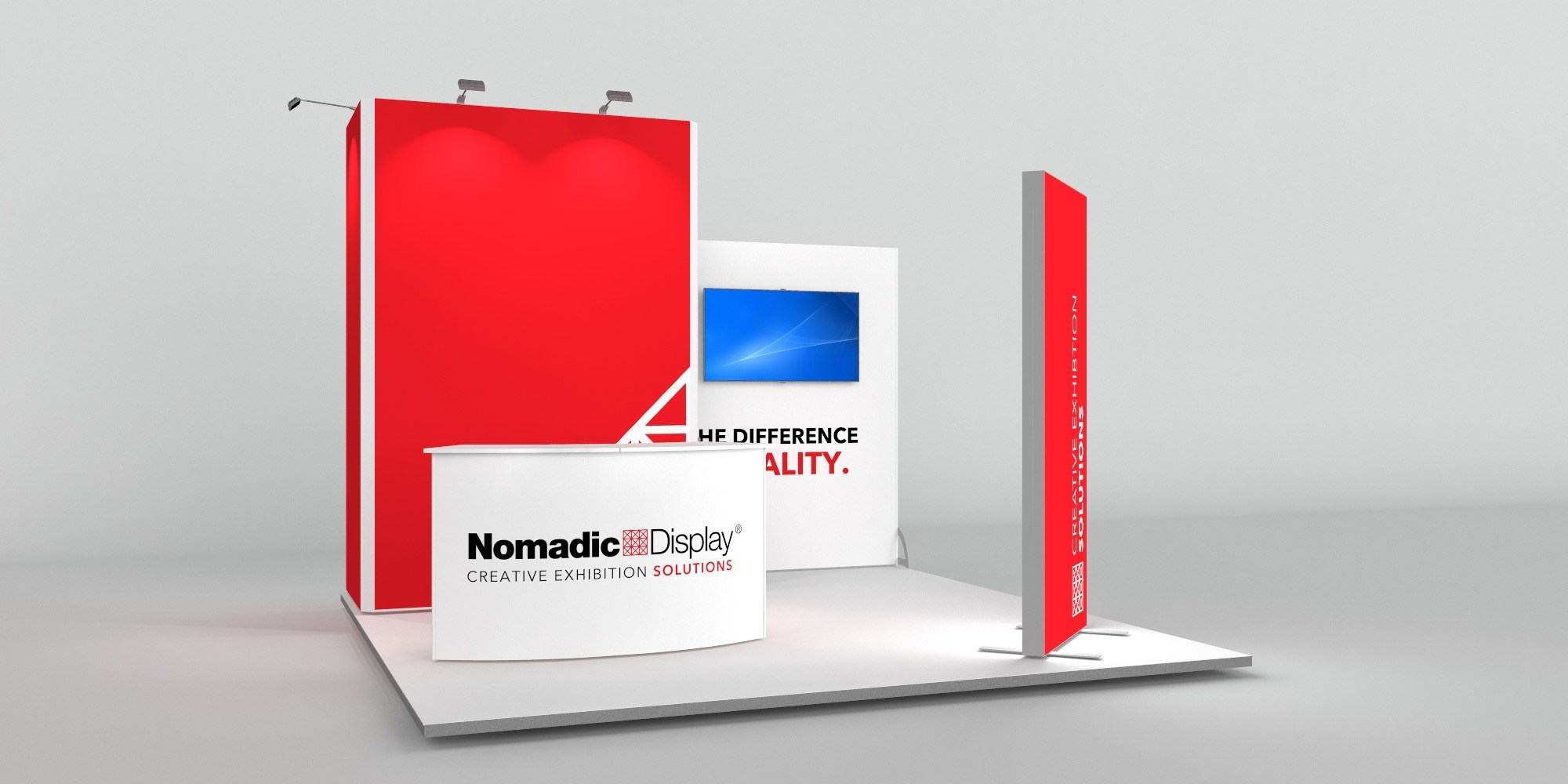 4x4m Exhibition Stand with FreeStanding BrightWall