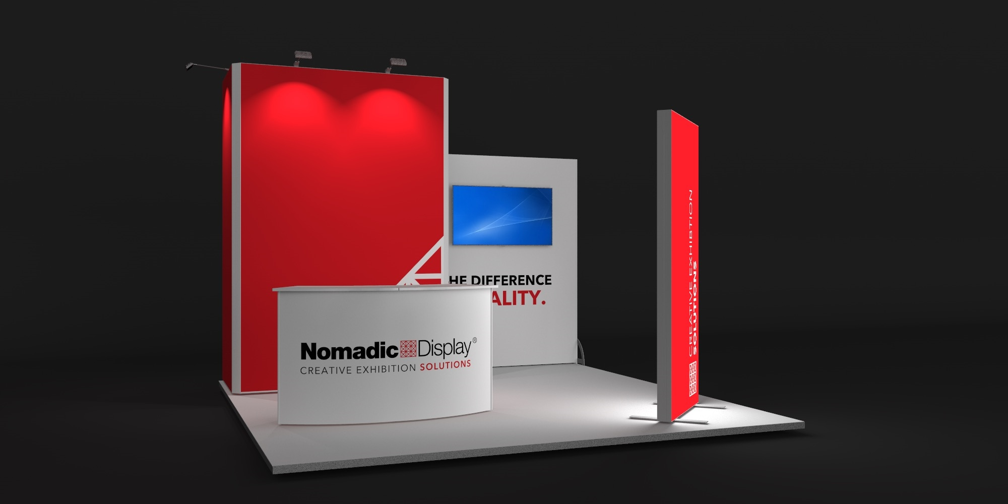 4x4m Exhibition Stand with FreeStanding BrightWall View 2