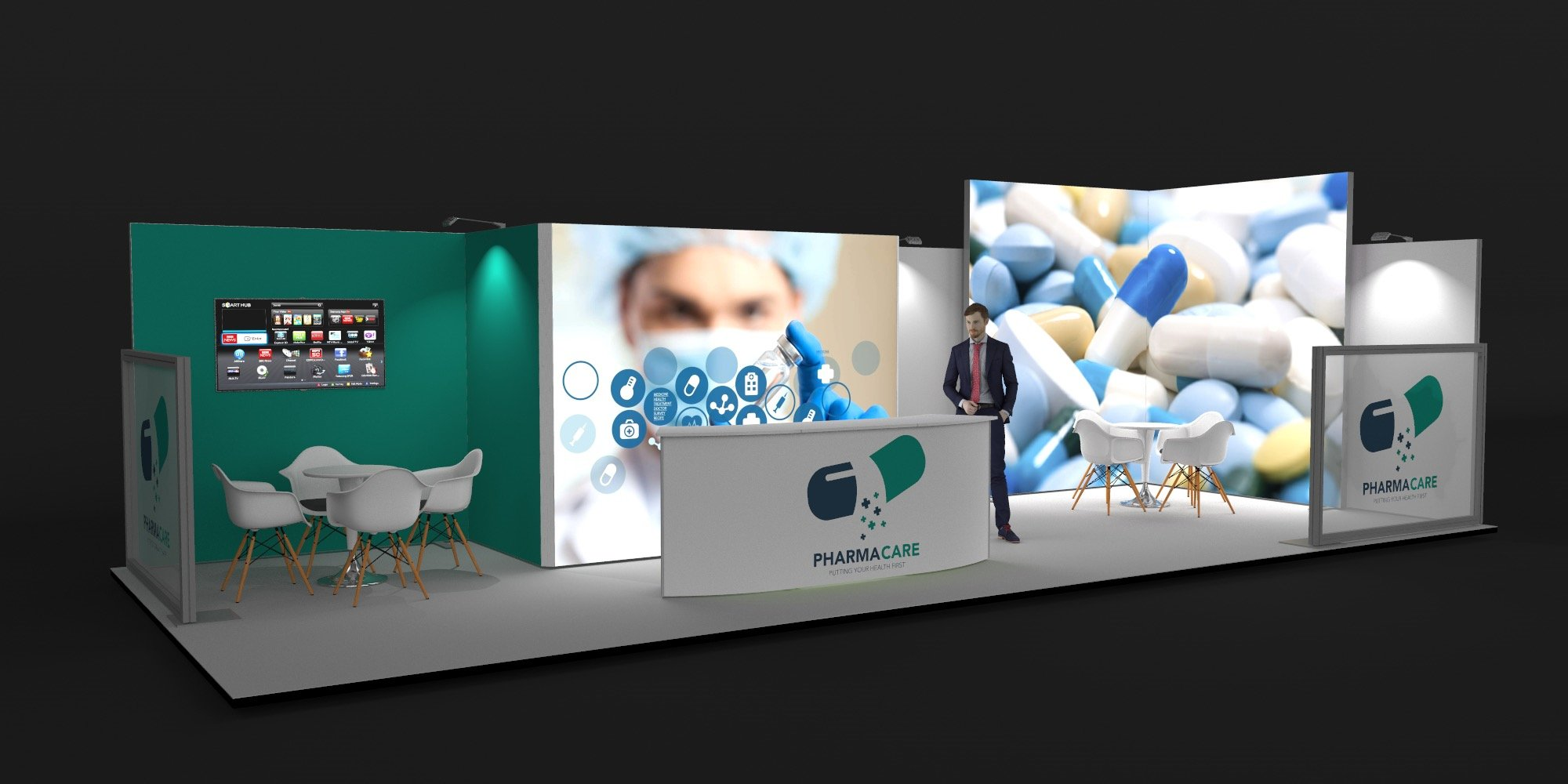 10x4m 2 Sided Exhibition Stand with BrightWalls View 2