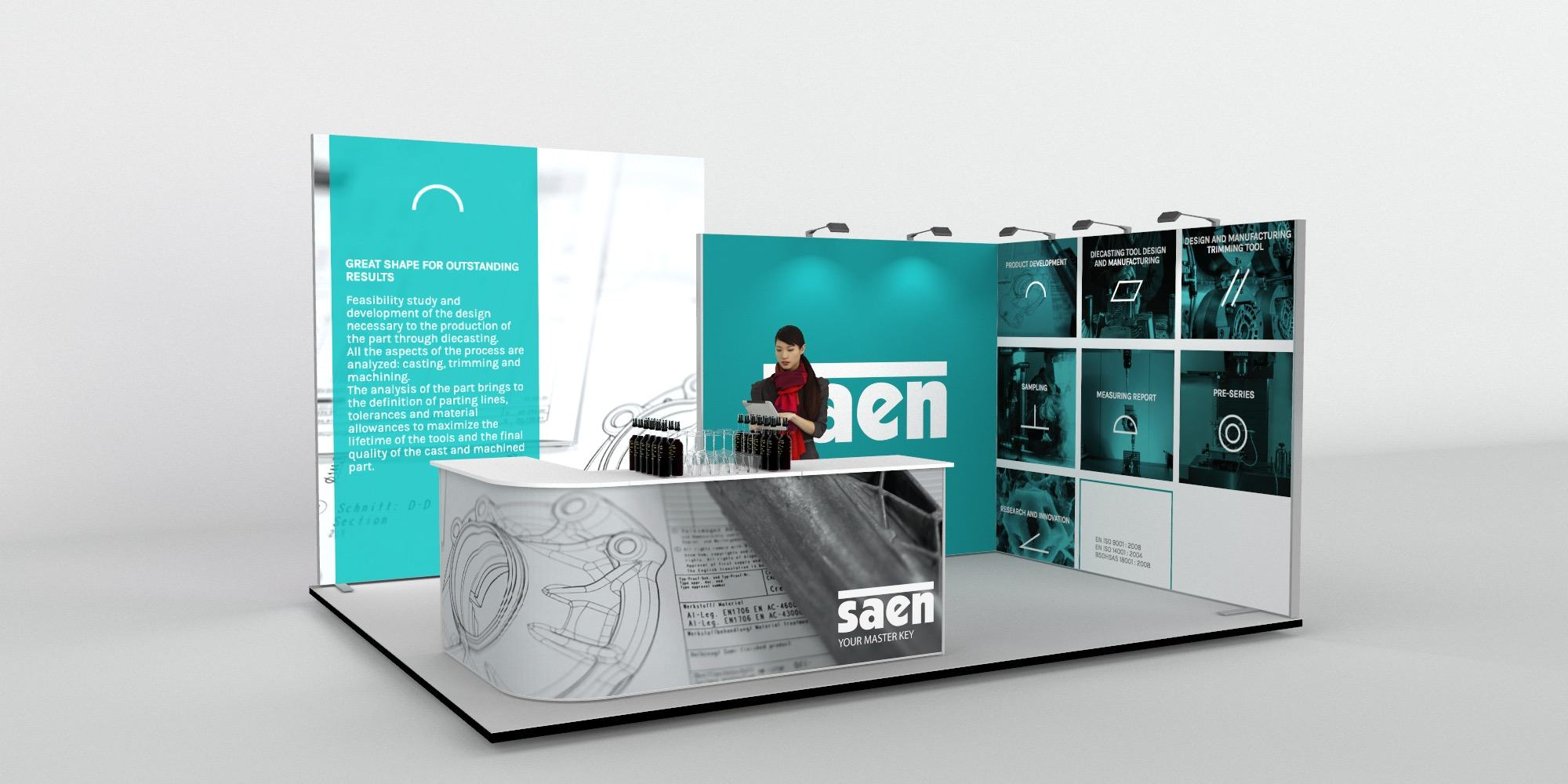 5x4m 2 Sided Fabric Exhibition Stand