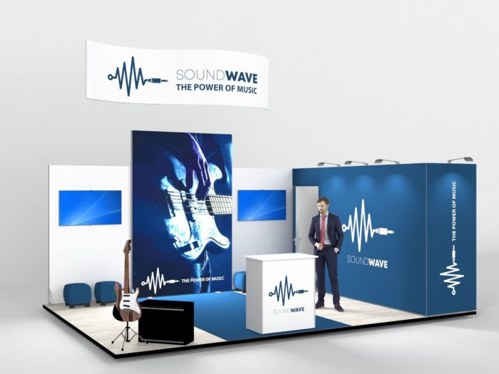 6x4m Exhibition Stand with Overhead Hanging Structure