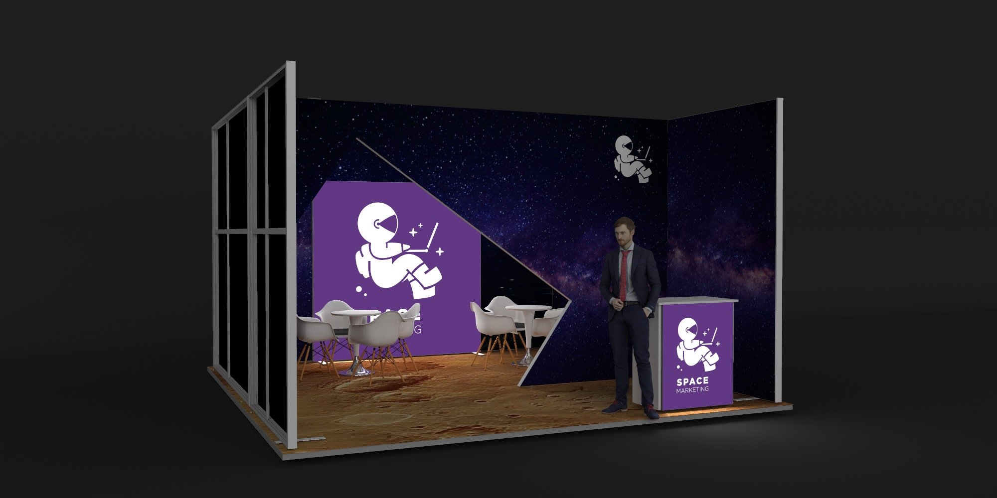 5x5m Exhibition Stand with Meeting Area View 2