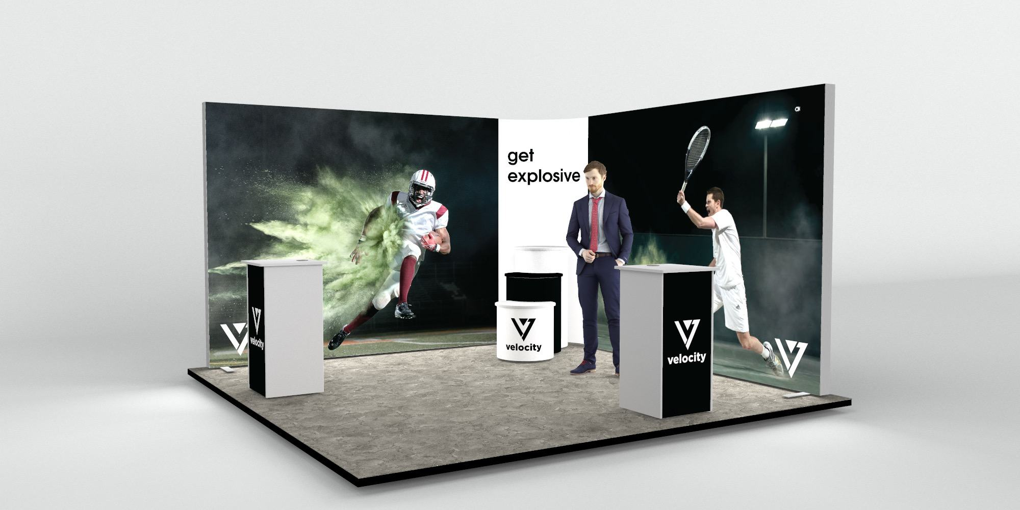 4x4m 2 Sided Backlit Exhibition Stand